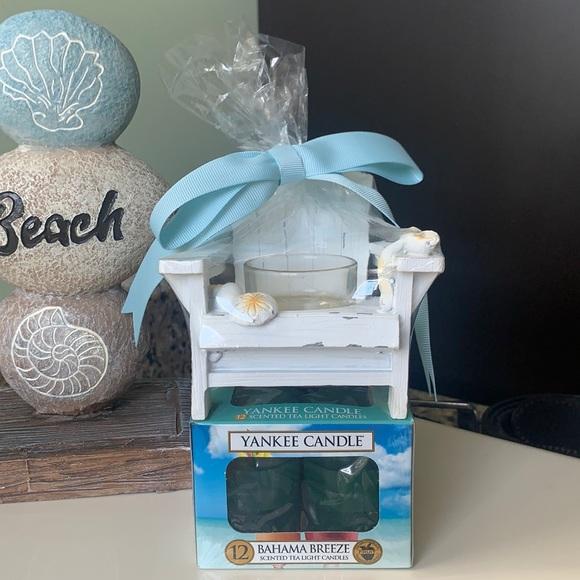 NWT Yankee Candle Tea Light Adirondack Chair Holder Bahama Breeze Scent! ⛱🌞